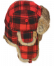Wool Buffalo Check Rabbit Fur Aviator (Red+Black)