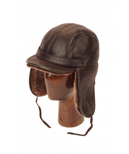 Elmer Fudd Sheepskin Round Top Long (Dark Brown)