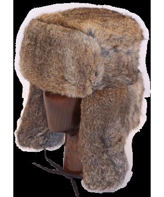 Full Fur Rabbit Ushanka (Brown)