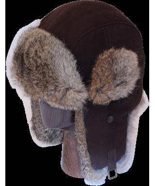 Lamb Suede with Rabbit Fur (Brown)