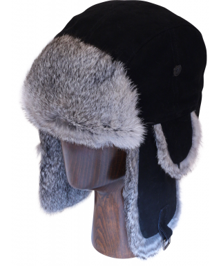 Lamb Suede with Rabbit Fur (Black and Grey)
