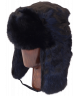 Full Fur Rabbit Ushanka (Black)
