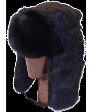 Full Fur Rabbit Ushanka (Black)