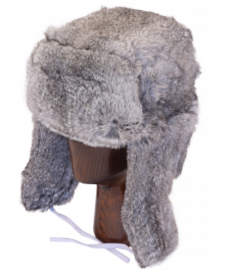 Full Fur Rabbit Ushanka (Gray)