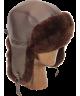 Leather and Rex Rabbit Aviator (Dark Brown)