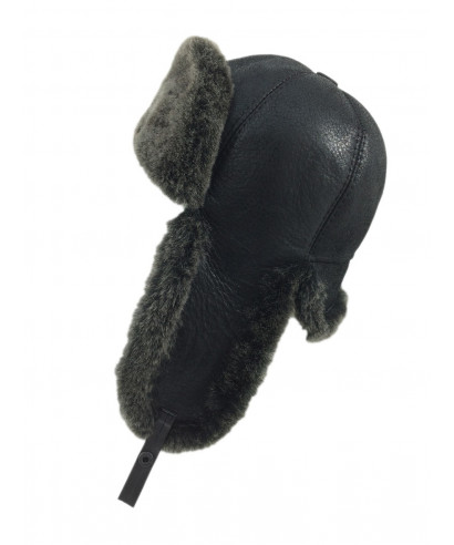 Six Panel Sheepskin Ushanka Russian Hat (Black)