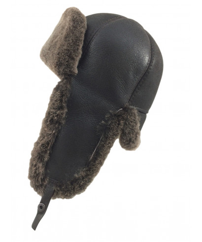 Six Panel Sheepskin Ushanka Russian Hat (Dark Brown)