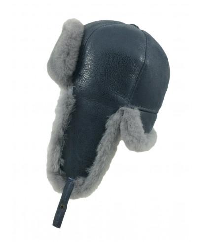 Six Panel Sheepskin Ushanka Russian Hat (Grey)