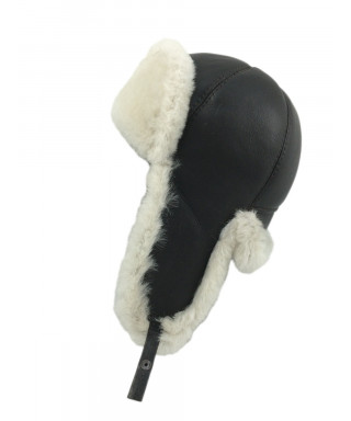 Six Panel Sheepskin Ushanka Russian Hat (Brown / White)