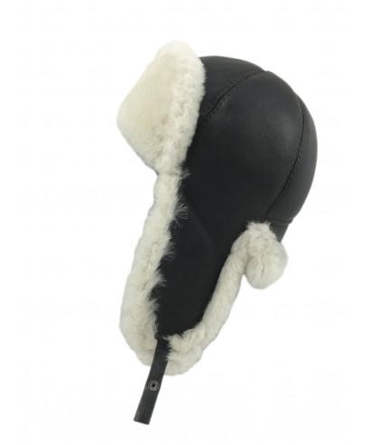 Six Panel Sheepskin Ushanka Russian Hat (Brown / White)