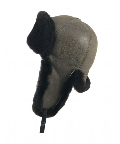 Six Panel Sheepskin Ushanka Russian Hat (Cashmere)