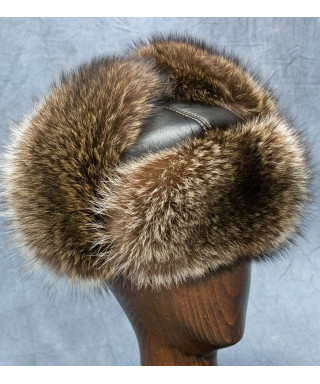 Raccoon Russian Ushanka Hat (Dark Brown)