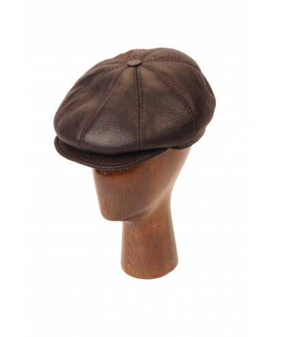 Sheepskin Newsboy (Dark Brown)
