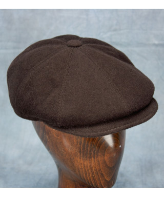 Wool / Cashmere Newsboy Cap (Dark Brown)