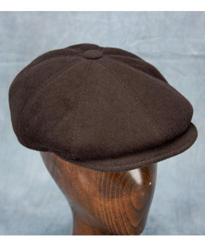 Wool / Cashmere Newsboy Cap (Dark Brown)