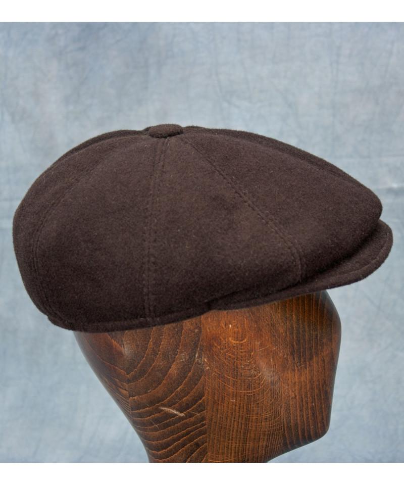 Wool cashmere newboy cap dark brown