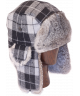 Wool Buffalo Check Rabbit Fur Aviator (Grey+Black)
