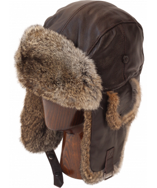 Leather Rabbit Fur Aviator (Brown)